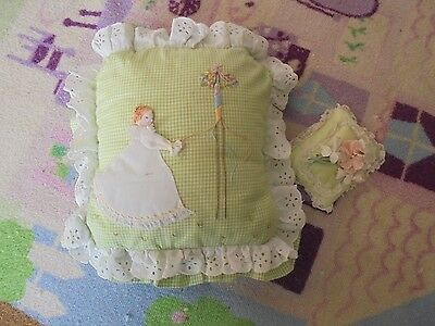 Maypole hand embroidered girl throw pillow eyelet lace edge chic green sweet set