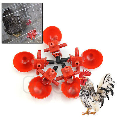 5Pcs Poultry Feed Automatic Water Drinking Cups Bird Coop Chicken Fowl Drinker