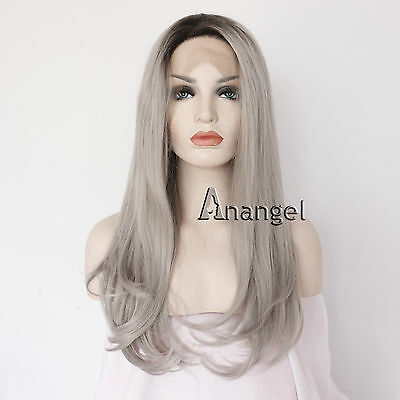 Women Long Wavy Lace Front Wigs Synthetic Black Ombre Grey Hair Heat Resistant