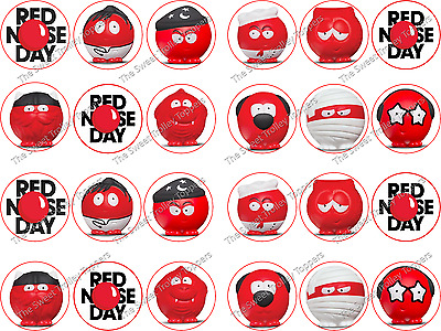 BBC Red Nose Day Charity Edible Rice Wafer Paper Cake Cupcake Cookie Bun Toppers
