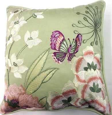 Butterfly  Springtime Meadows Green Silk Cushion Cover  £6.29 Free Postage