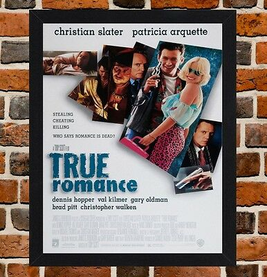 Framed True Romance Movie Poster A4 / A3 Size In Black / White Frame