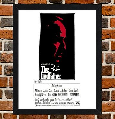 Framed The Godfather Movie Poster A4 / A3 Size In Black / White Frame (Ref-1)