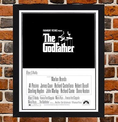 Framed The Godfather Movie Poster A4 / A3 Size In Black / White Frame (Ref-3)