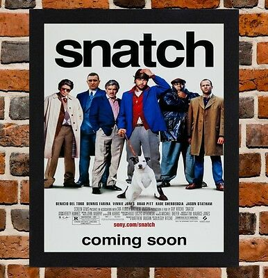 Framed Snatch Movie Poster A4 / A3 Size In Black / White Frame (Ref-1)
