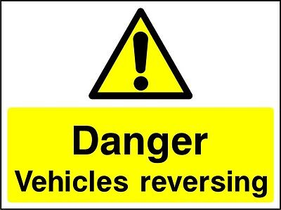Site Safety Signs - 'Danger Vehicles reversing' - 4mm Correx - In 3 Sizes