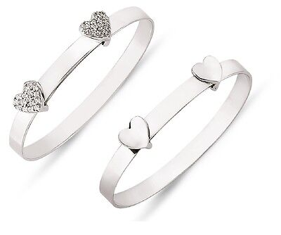 925 Sterling Silver Children's Baby Expandable Heart CZ Christening Bangle