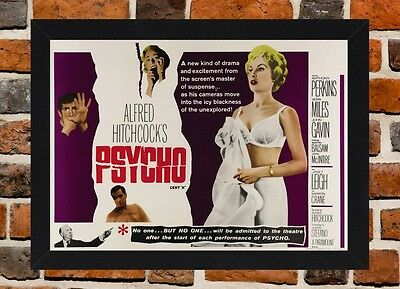 Framed Psycho Movie Poster A4 / A3 Size In Black / White Frame (Ref-2)