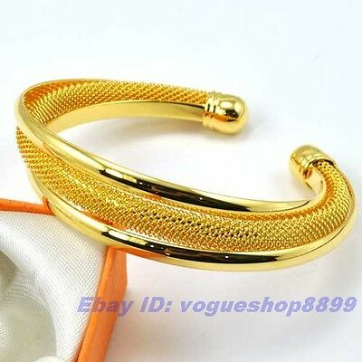 """6.9""""15mm29g REAL CHARMING 18K YELLOW GOLD GP BANGLESOLID FILL GEP RACELET CHAIN"""