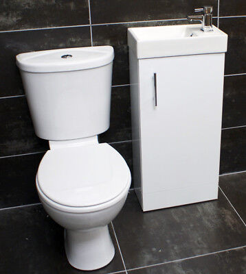 400mm Cloakroom Basin Unit Sink Cupboard + Toilet Set Bathroom Suite + Tap