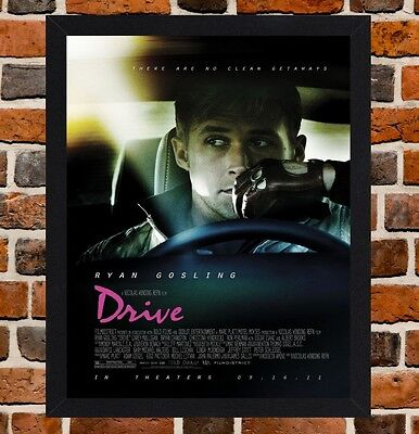 Framed Drive Movie Poster A4 / A3 Size In Black / White Frame (Ref-2)