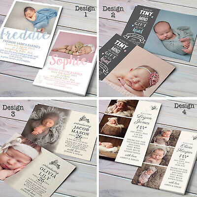 Personalised New Baby Thank You Cards / Announcement inc Envelopes + Photo