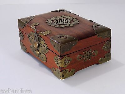 Vintage Oriental Wooden Jewelry Box w Metal accents