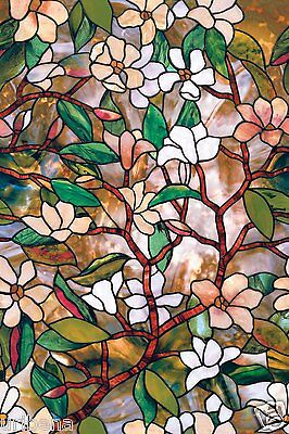 Magnolia Window Film 24-by-36-Inch Privacy Decorative Design For Any Room Floral