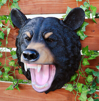 "Large American Black Bear Head Bust Wall Hanging Figurine Home Decor Plaque 16""h"