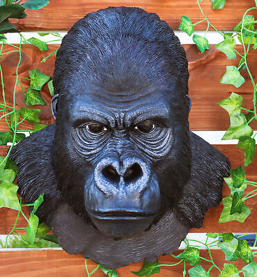 Large African Gorilla Ape Head Wall Hanging Figurine Decor Plaque 16.5 Inch H