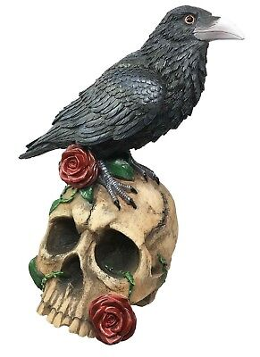 Large Dark Raven Perching on Roses Skull Skeleton Figurine Halloween Decor