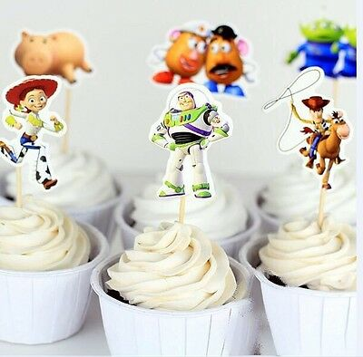 12 x Toy Story CUPCAKE CAKE TOPPERS Party Pick Food Woody Buzz Party Supplies