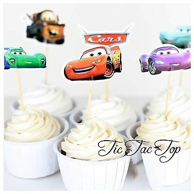 12 x Disney Cars CUPCAKE CAKE TOPPERS Party Pick Food McQueen Decoration