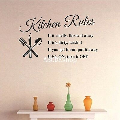 Removable Kitchen Rules DIY Quote Wall Stickers Home Decor Vinyl Art Mural Decal