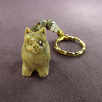 CAT LOVE SOAPSTONE KEY CHAIN Ring Kitten Kitty Puss Totem Hearts Silver Gold