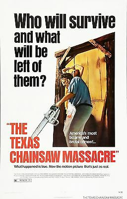 """THE TEXAS CHAINSAW MASSACRE Movie Poster Horror Leatherface""""Who will Survive?"""""""