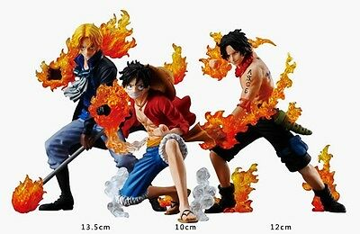One Piece Brotherhood Sabo Luffy Ace PVC Figures set 3pcs Attack styleing In Box