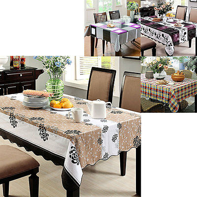 Tablecloth Wipe Clean PVC Vinyl Rectangle Square Table Protect Cover Cloth Party