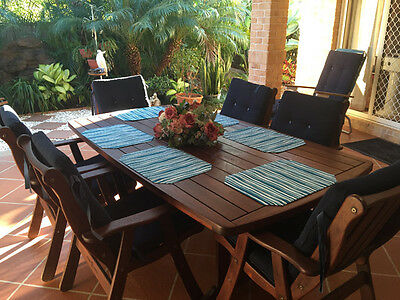 Set 6 Kitchen Placemats Place Mats Dinner Table Decor Party Teal Stripe