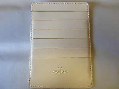 Omega Cream Leather Warranty Card Holder Wallet