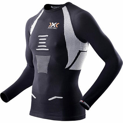 X-bionic Running Man The Trick Ls Mens Base Layer Top - Black White All Sizes