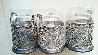 Lot of 3 Vintage Silver Plated Filigree Tea Cup Holders & Glasses