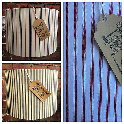 Custom Handmade Lampshade French Ticking blue red stripe canvas Fabric Choice