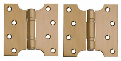 """Brass Plated Stainless Steel Parliament Door Hinges Button Tipped 4 x 4"""" 5""""& 6"""""""
