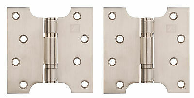 "Satin Steel Parliament Door Hinges Button Tipped 4 x 4"" , 5"" & 6"" SSS + Screws"