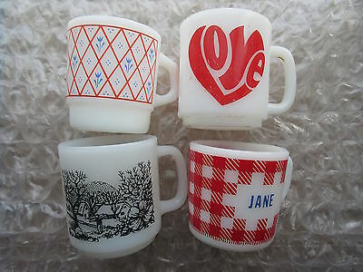 4 Old Vintage Retro Milk Glass Coffee Mugs Love Jane Forest Scene