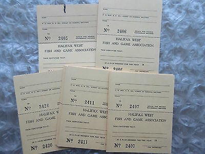 17 Old 1950's Halifax West Fish & Game Association Unused Cards