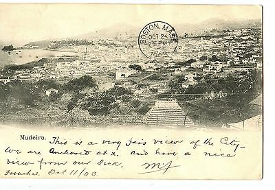 Old postcard post card Madeira Portugal city scene 1903