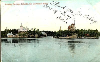 Old postcard post card 1000 Thousand Islands St. Lawrence River