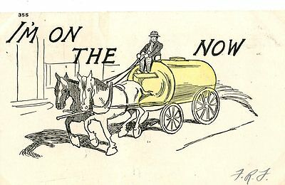 Old illustrated humorous / romance postcard I'M ON THE WAGON NOW 1907
