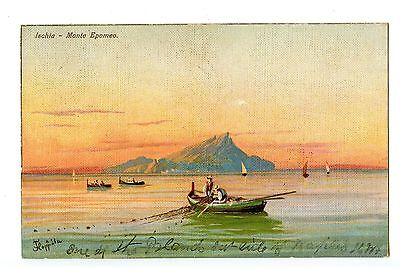 Old post card postcard Ischia Monte Epomeo Italy Naples fishing boat
