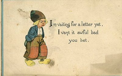Old illustrated humorous / romance postcard LITTLE DUTCH child wooden shoes 1913