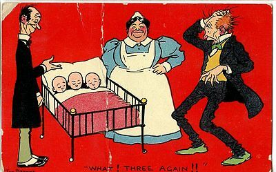 Old illustrated humorous / romance postcard Triplets surprise for father