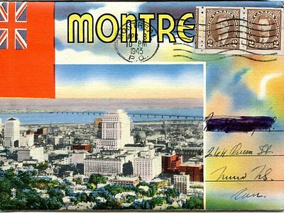 Old postcard picture packet MONTREAL Canada Quebec 1943 postally used