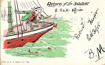 Old illustrated humorous / romance postcard RETURN OF THE SWALLOW sick sailor