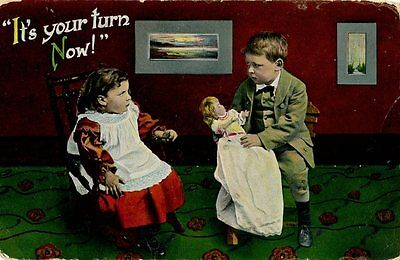 Old illustrated humorous / romance postcard children playing married couple