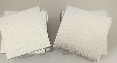 "10 x 3"" Inch SQUARE SILVER Thin Cut Edge Cake BOARDS Cards Support Tray CULPITT"