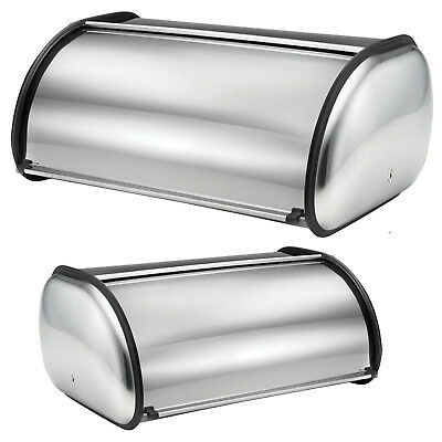 Silver Stainless Steel Roll Top Bread Bin Food Loaf Kitchen Storage Box 2 Sizes