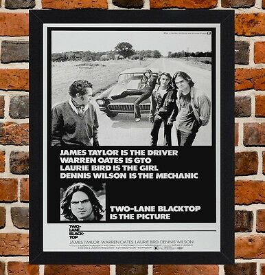 Framed Two Lane Blacktop Movie Poster A4 / A3 Size In Black / White Frame.