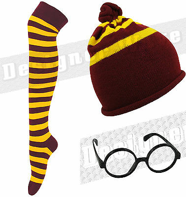 Unisex Wizard Harry Gryffindor Hat Socks Glasses Movie Book School Fancy Dress